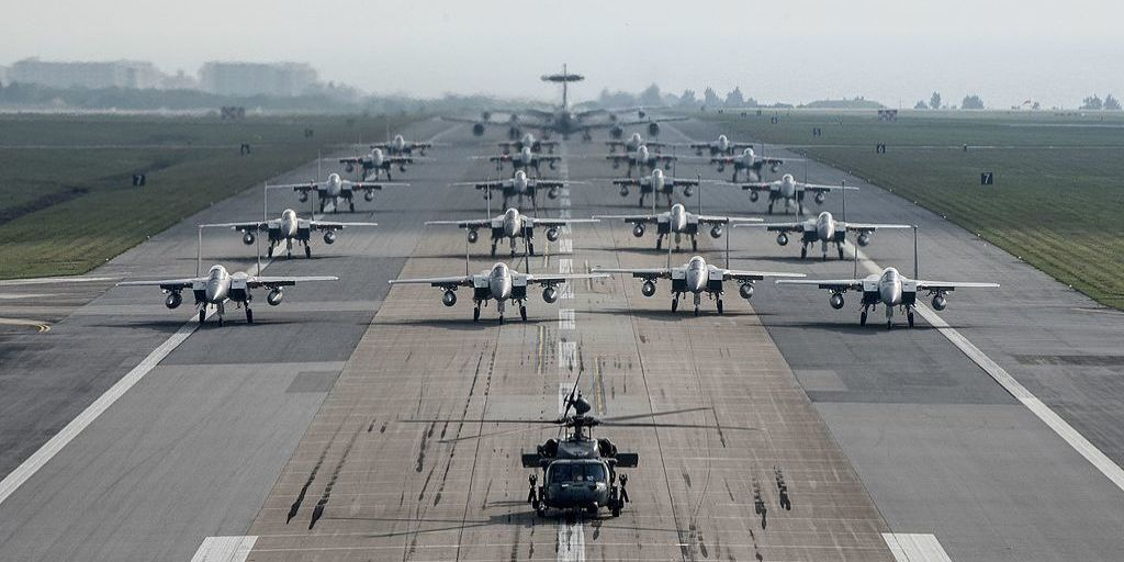 """U.S. Air Force Stages Massive """"Elephant Walk"""" in Japan"""