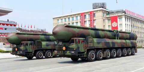 North Korea missiles on parade