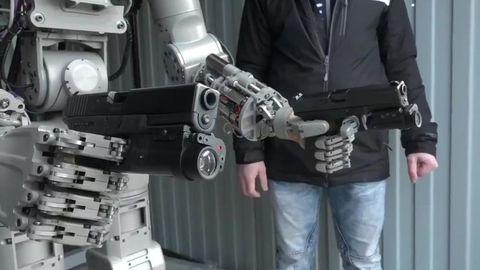 Standing, Collar, Machine, Denim, Blazer, Technology, Engineering, Pocket, Belt, Robot,