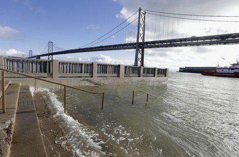 Water, Bridge, Sky, Waterway, River, Boat, Vehicle, Suspension bridge, Channel, Architecture,