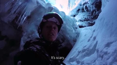 idiot falls into crevasse