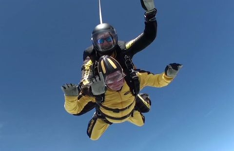 Tandem skydiving, Parachuting, Air sports, Extreme sport, Windsports, Parachute, Sky, Fun, Paragliding, Helmet,