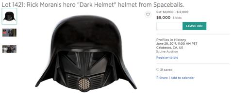 dark helmet s helmet is up for auction