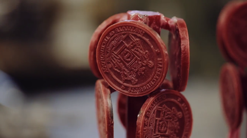 Stamp seal, Red, Close-up, Cookie, Photography, Finger food, Macro photography, Snack,