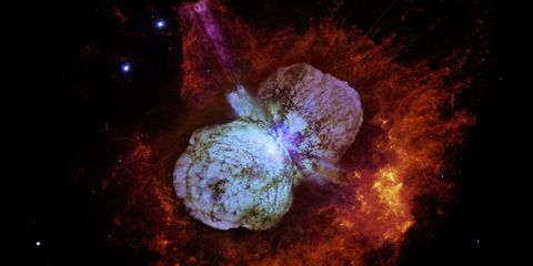 <p>Eta Carinae is a blue hypergiant binary star 7,500 light years away that is seemingly ready to blow up into a supernova at any moment. One star is around 100 times the mass of the Sun, while the other is between 50 and 80 times the size of the sun.&nbsp;</p><p>Inside this cauldron, temperatures reach 72,000 degrees Fahrenheit just on the surface of the stars. But as the stars reach a nearest approach, the hot gas between the two can reach up to&nbsp;1,799,540 degrees.&nbsp;</p>