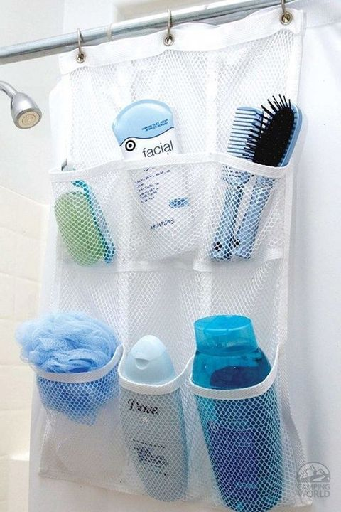 """<p><em data-redactor-tag=""""em"""" data-verified=""""redactor"""">$8.99</em></p><p><a href=""""http://www.campingworld.com/shopping/item/shower-pocket-organizer/69121"""" target=""""_blank"""" data-tracking-id=""""recirc-text-link"""" class=""""slide-buy--button"""">BUY NOW</a></p><p>Use this handy&nbsp;piece to sort and store all your bathroom necessities. You can purchase an <a href=""""https://www.amazon.com/Hanging-Organizer-6-pocket-Bathroom-Accessories/dp/B00Y9O7I1C/"""" target=""""_blank"""" data-tracking-id=""""recirc-text-link"""">inexpensive one on Amazon</a>, or repurpose a&nbsp;shoe organization system to make something similar.</p>"""