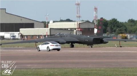 A Tesla Model S Sedan Has Been Spotted At RAF Fairford Sprawling US Air Force Base In The United Kingdom Accompanying U 2 Spy Planes During Takeoffs