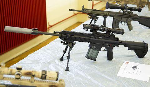 Gun, Firearm, Rifle, Trigger, Assault rifle, Machine gun, Air gun, Airsoft gun, Gun barrel, Airsoft,