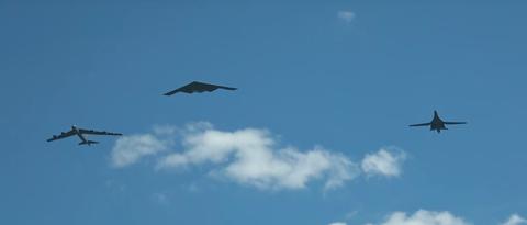 Airplane, Sky, Aircraft, Northrop grumman b-2 spirit, Blue, Stealth aircraft, Air force, Military aircraft, Vehicle, Azure,