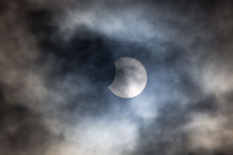 partial solar eclipse cloudy skies