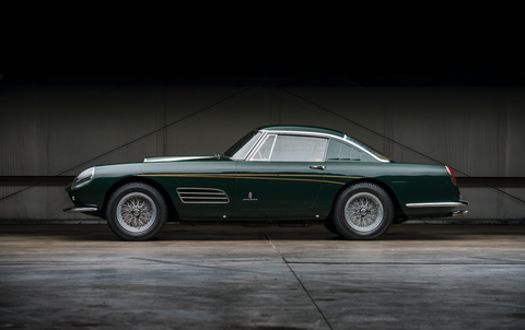 "<p><a href=""http://www.rmsothebys.com/mo17/monterey/lots/1959-ferrari-410-superamerica-series-iii-coupe-by-pinin-farina/1704601"" target=""_blank"">This 410 Superamerica</a> is just one of 12 in existence, and painted in a unique dark British Racing Green with yellow striping. The car features a 400-horsepower 4.9-liter Lampredi V12, competition-style headlamps, and one-off taillights. It sold for $5.3 million at RM Sotheby's auction. </p>"