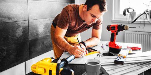 Handheld power drill, Impact driver, Hammer drill, Impact wrench, Tool, Plumber, Machine, Floor, Flooring,