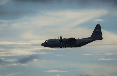 Airplane, Aircraft, Aviation, Vehicle, Lockheed c-130 hercules, Flight, Propeller-driven aircraft, Sky, Military transport aircraft, Lockheed ac-130,