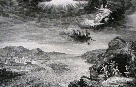 Illustration, Photography, Mythology, Tree, Black-and-white, Art, Rock, Monochrome, Visual arts, Landscape,