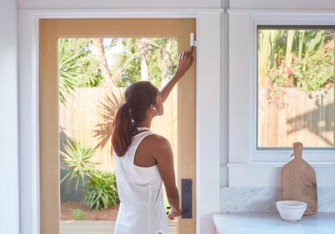 White, Window, Yellow, Interior design, Door, Room, Home door, Shoulder, Window covering, Window treatment,