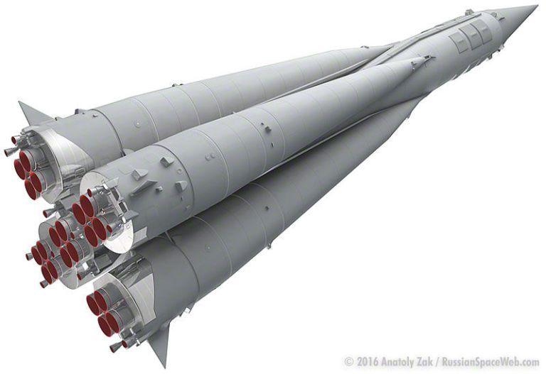 Recriação digital do foguete R-7.