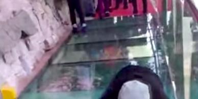 man fake falling on bridge