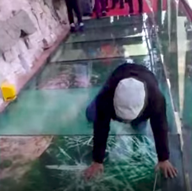 Fake Cracks on a Glass Bridge Is a Profoundly Disturbing Joke