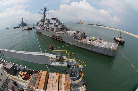 Vehicle, Warship, Ship, Naval ship, Boat, Dock landing ship, Watercraft, Battleship, Destroyer, Guided missile destroyer,