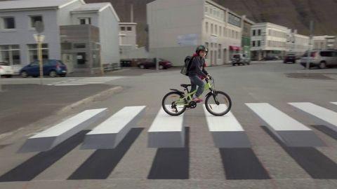 Zebra crossing, Bicycle, Lane, Pedestrian crossing, Cycling, Road, Vehicle, Mode of transport, Recreation, Snapshot,