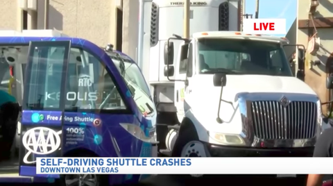 Driverless Shuttle Has Accident on First Day At Work