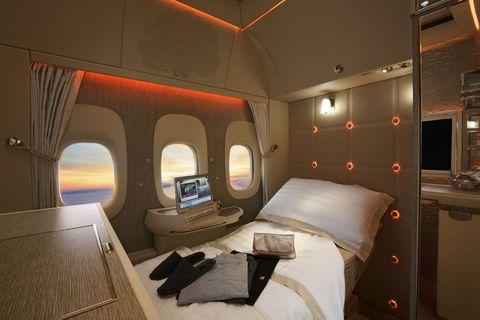 The Emirates suite awaiting slumber.