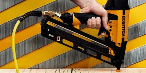 """<p>Nailers fire nails on contact with unbelievable power. Designed to punch through shingles and flooring in an instant, we shudder to think of what it would do to your body. </p><p><a href=""""http://www.popularmechanics.com/home/tools/reviews/g178/finish-nailer-face-off-we-test-the-top-10/"""">Top 10 Finish Nailers</a></p>"""