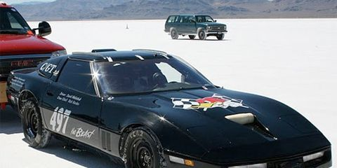 """This black Corvette """"the Beast"""" makes its way to the starting line for a shot at a 230mph record."""