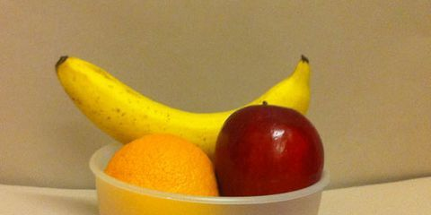 A fruit bowl taken from about 4 feet away with 6 fluorescent ceiling lights on.