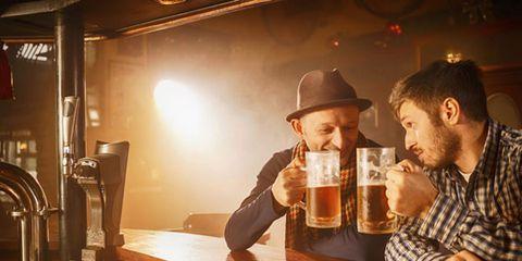 Beer, Barware, Alcohol, Hat, Alcoholic beverage, Drink, Tableware, Beer glass, Drinkware, Facial hair,