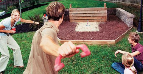 Learn To Build Family Friendly Backyard Gaming Areasu2014a Horseshoe Pit, Plus  Courts For Volleyball, Bocce And Croquet.
