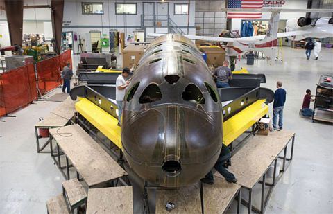 SpaceShipTwo under construction at Scaled Composites in California