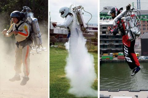 California-based Thunderbolt Aerosystems announced this week that it would sell the sub-$100,000 ThunderPack TP-R2G2 (left) beginning this summer in a race with TAM's Rocket Belt (middle) and JetPack International Jet Pack H202 (right) for the DIY rocketeer's wallet. But the end game, engineers say, is long-distance, jet-fueled flight.