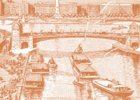 Waterway, Boats and boating--Equipment and supplies, Boat, Watercraft, Bridge, Art, Channel, Naval architecture, River, Painting,