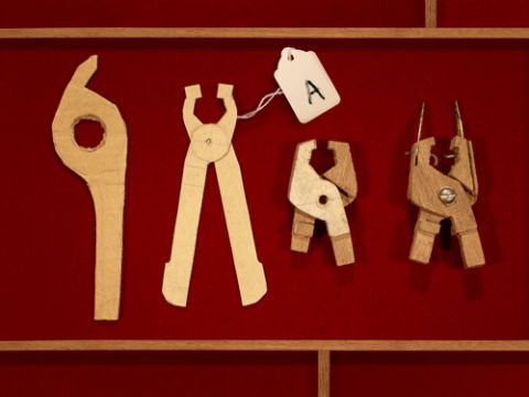 The now-iconic multifunction tool first found physical form as a series of cardboard cutouts that inventor Tim Leatherman fashioned in the mid-1970s. He then migrated to wood carvings with integrated metal parts.