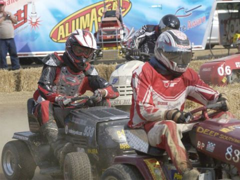 "For some, a lawn tractor is more than another yoke of suburban oppression. According to the U.S. Lawn Mower Racing Association, just about anyone can turn ""a weekend chore into a competitive sport."" Don't look too worried—they take the cutting blades off before each race."