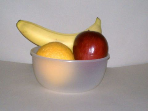 The same fruit bowl with the lights off, but the door open (in near complete darkness).
