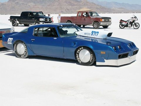 This second generation Firebird is just one of a growing number of muscle cars here on the salt. Over 240 mph is the goal for this team.