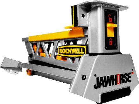 The Jawhorse, popular as a stable, vise-equipped work surface, has a hard time gripping big panels for work with a paintbrush or a circular saw. New jaws designed to wrangle 4 x 8-foot sheets can manage drywall, MDF, OSB, particleboard and, yes, plywood. Hold the work steady and stop making crooked cuts.