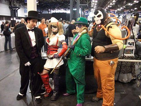 <em>Batman: Arkham Asylum's</em> Rogues Gallery (L-R): The Penguin, Harley Quinn, The Riddler and Bane.