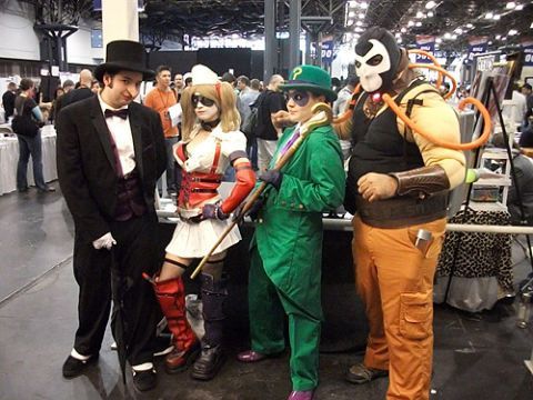 <em>Batman: Arkham Asylum's</em> Rogues Gallery (L-R): The Penguin, Harley Quinn, The Riddler and Bane.