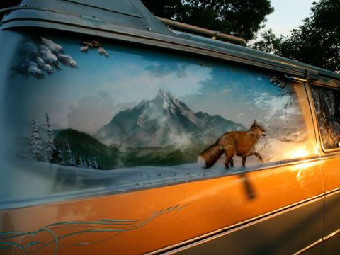 Canidae, Vehicle door, Paint, Painting, Fox,