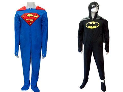 Superman/Batman Fleece Onesie Footie Pajamas With Cape