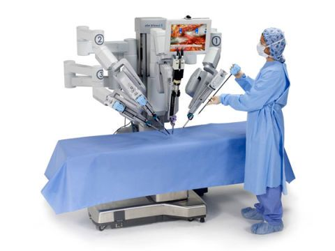 The da Vinci Si Surgical System machine looks menacing, but the robot remains under the control of a human.