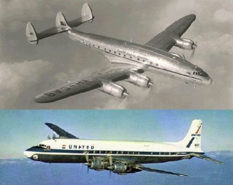 TWA Super Constellation and United DC-7