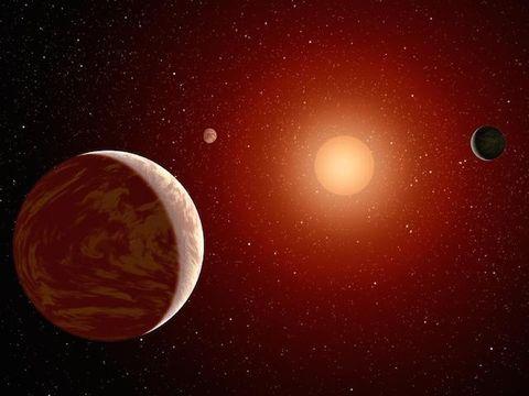Planets around a red dwarf.