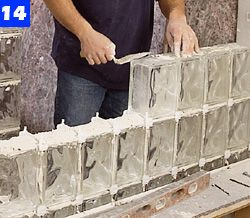 During That Time You Can Start Building The Straight Glass Block Wall At  The End Of The Shower Pan (Photo 14).