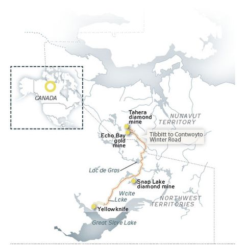 Map Of Canada Yellowknife.Building Canada S Epic Ice Road