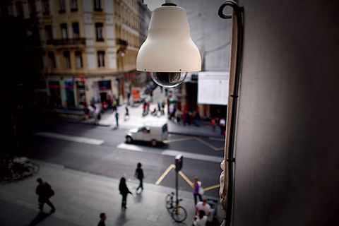 A dome camera in Lyon, France. Intelligent surveillance networks are commonplace in European cities. Now,  many American municipalities are building similar systems.