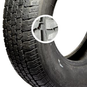 91291eb11c2 Cracks like these in the sidewall and between the tread blocks mean the tire  is drying